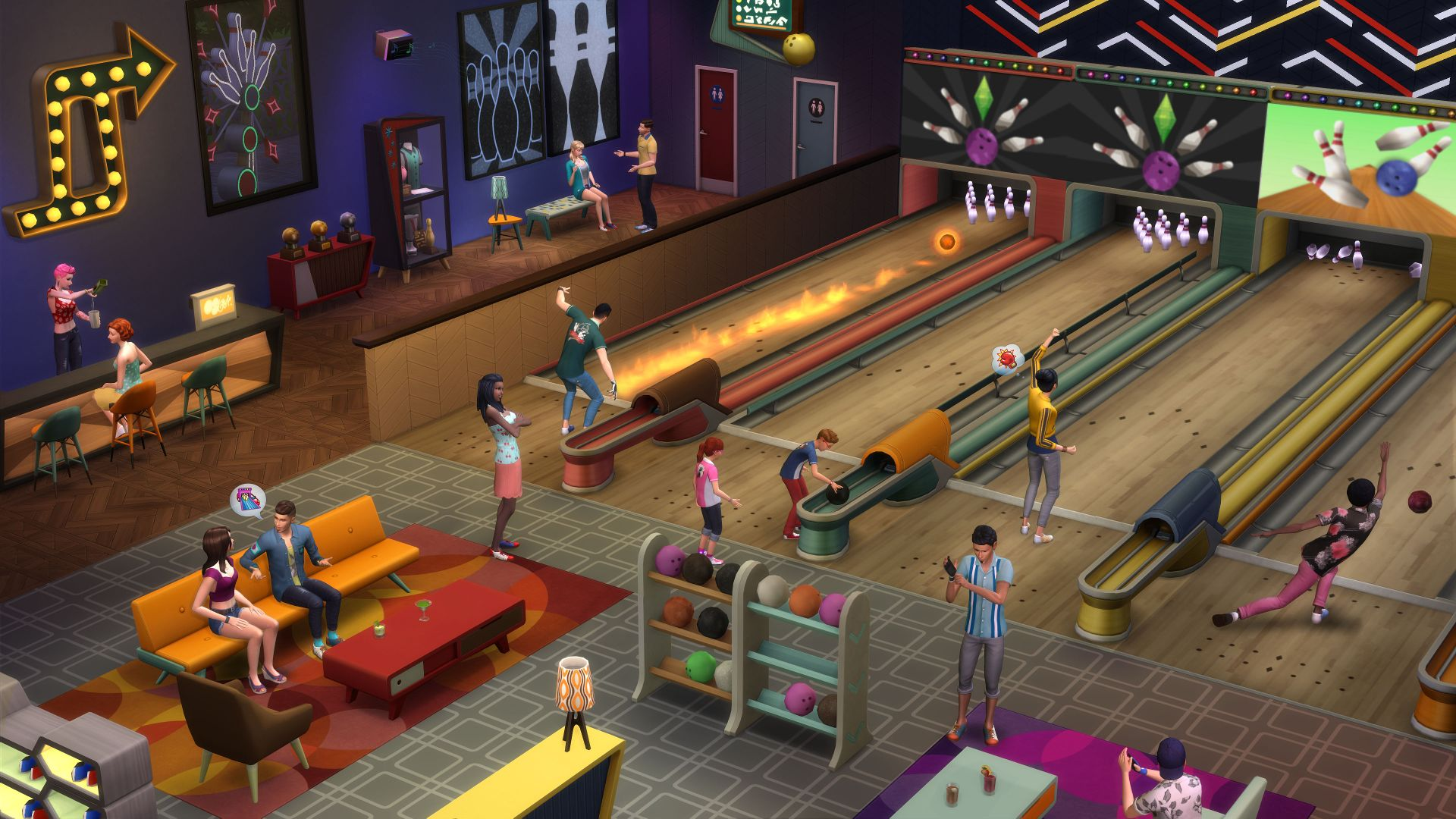 The Sims 4 Bowling Night Features